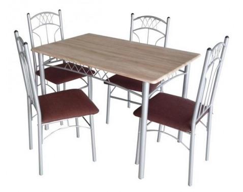 Jídelní set (4x židle + 1x stul) Židle: látka tmave hnedá