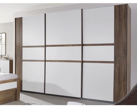 Levně Šatní skříň Bernau, 271 cm, dub stirling/bílá, posuvné dveře