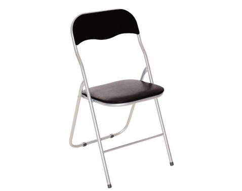 Skládací židle Foldus, černá ekokůže