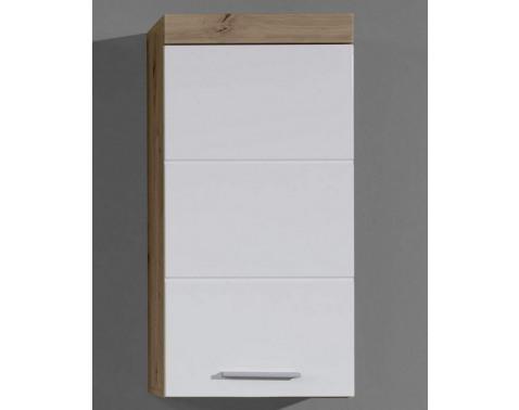 Levně Koupelnová závěsná skříňka Amanda 501, sukový dub/bílý lesk