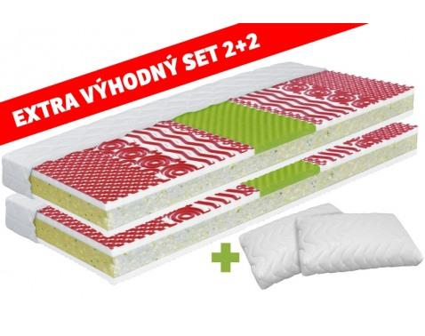 Set 2 ks matrace a 2 ks polštáre Polštáre: 55x40x13 cm