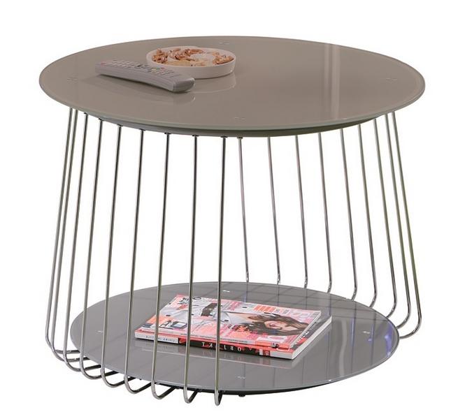 Konferenční stolek Riva, kov/cappuccino sklo