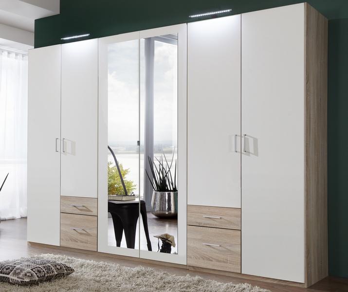 Šatní skříň Freiburg, 270 cm, dub Sonoma/bílá