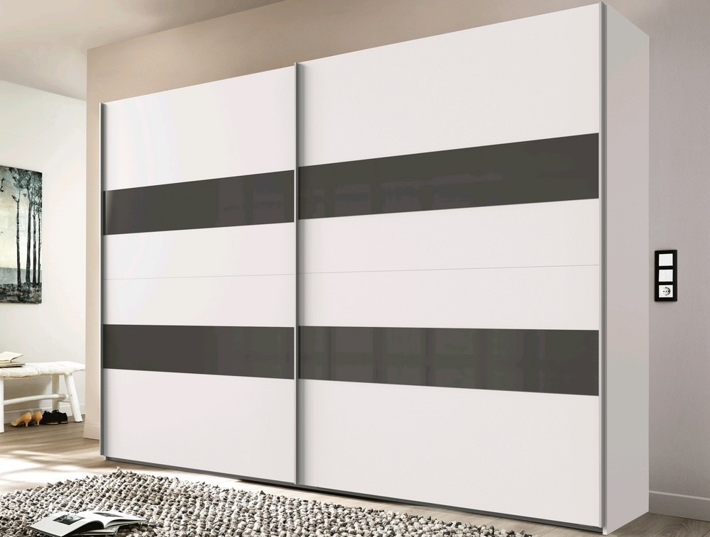 Šatní skříň Altona, 270 cm, bílá/šedé sklo