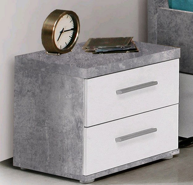 Noční stolek Winnie K08, šedý beton/bílá