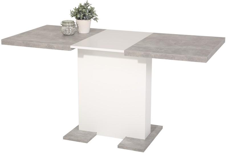 Jídelní stůl Britt 110x69 cm, šedý beton/bílý