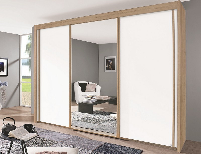 Šatní skříň Imperial, 250 cm, dub sonoma/bílá