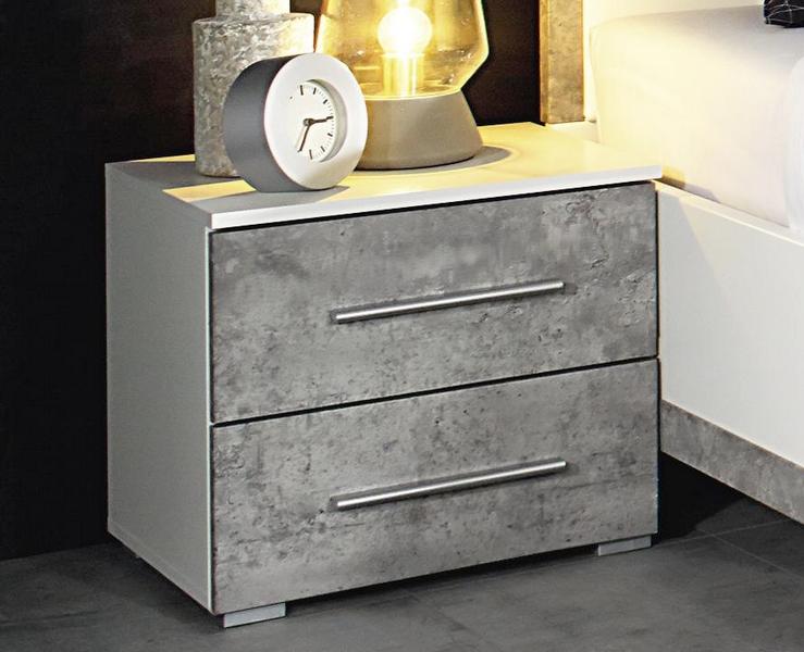 Noční stolek Siegen, bílý/šedý beton