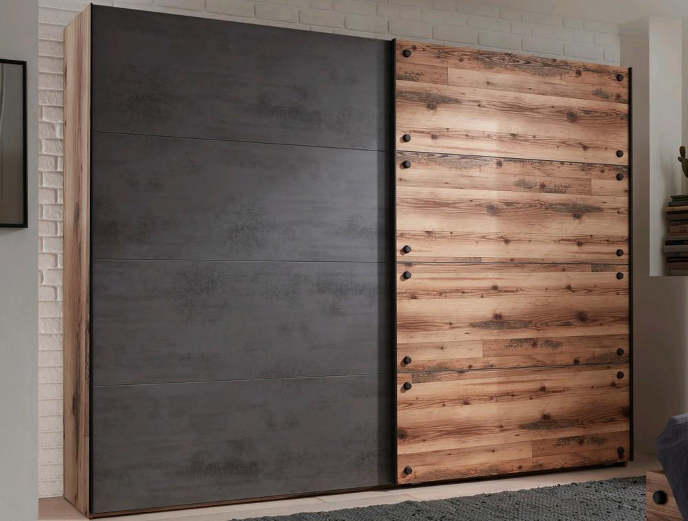 Šatní skříň s posuvnými dveřmi Dover, 270 cm, srubová prkna/tmavý beton