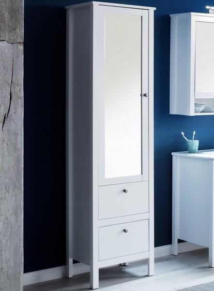 Koupelnová vysoká skříňka Ole, bílá