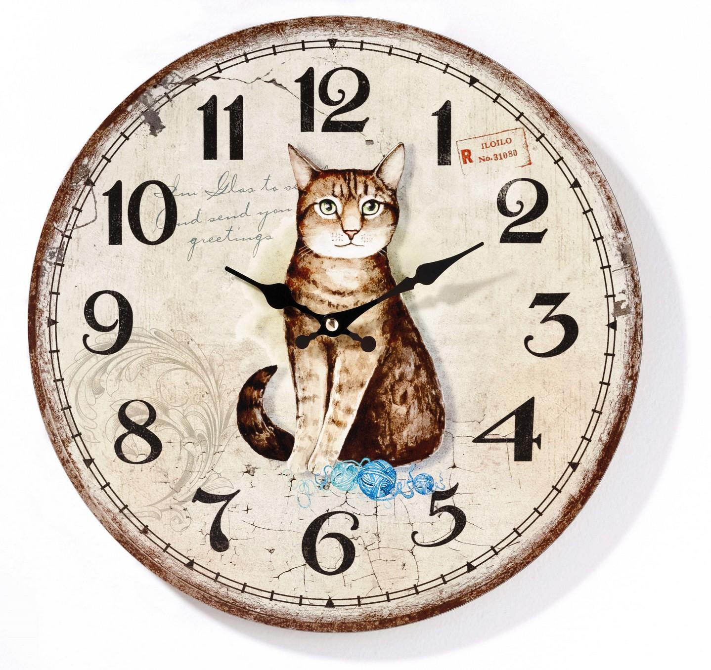 Nástěnné hodiny Vintage kočka, ⌀ 33 cm