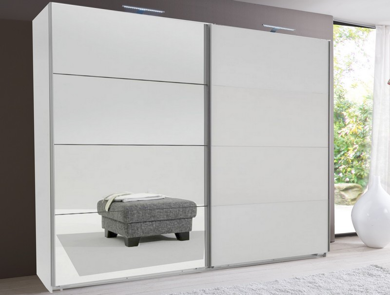 Šatní skříň Easy plus, 270 cm, bílá/zrcadlo