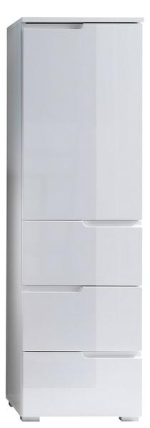 Koupelnová vyšší skříňka Spice, lesklá bílá