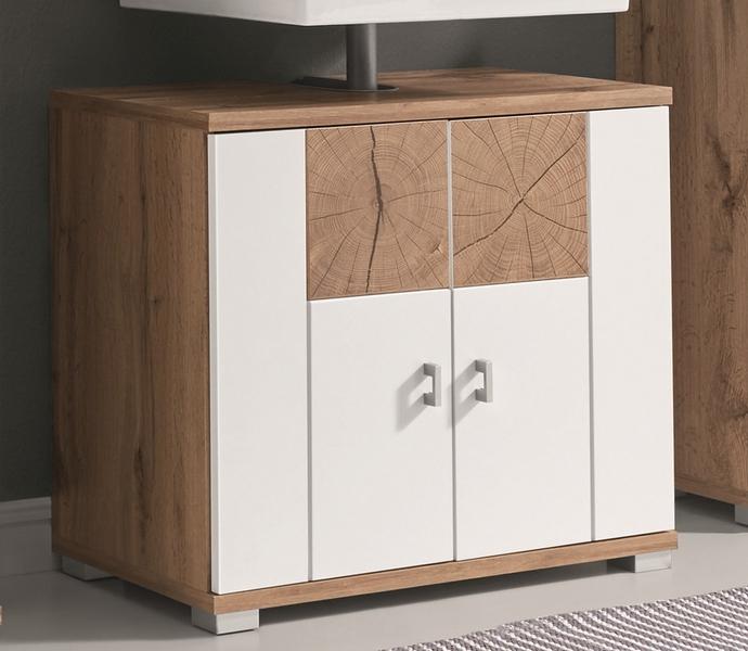 Koupelnová skříňka pod umyvadlo Spalt, divoký dub wotan/bílá