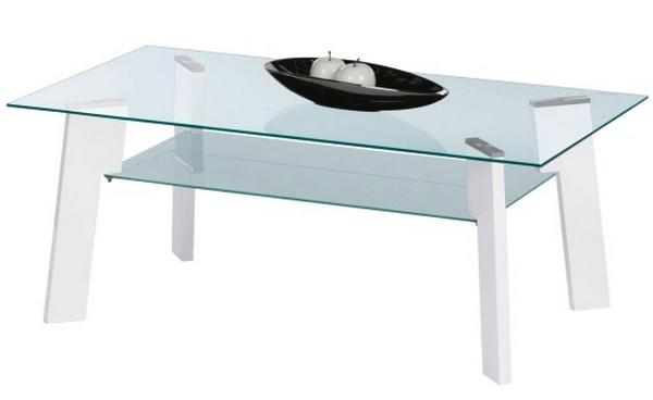 Konferenční stolek Johny, bílý lesk/sklo