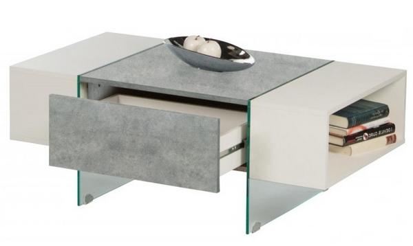 Konferenční stolek Ferrara, šedý beton/bílý lesk