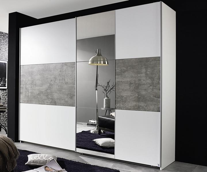 Šatní skříň Prenzlau, 218 cm, bílá/šedý beton
