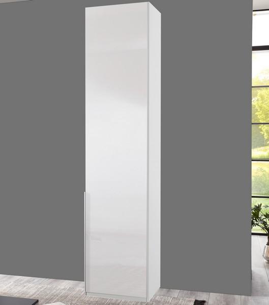 Šatní skříň New York D, 45 cm, bílá/bílý lesk