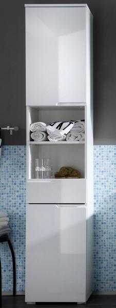 Koupelnová vysoká skříňka Spice, lesklá bílá