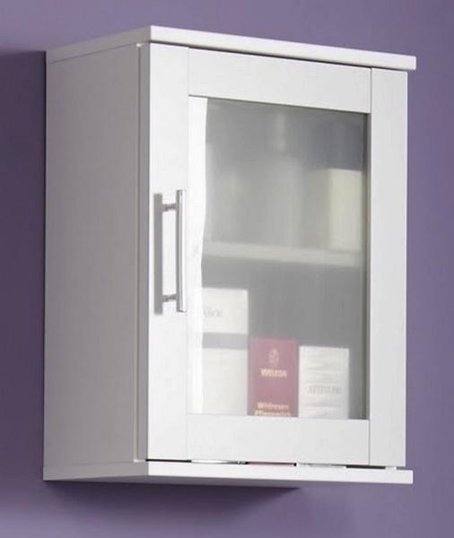 Koupelnová závěsná skříňka Orlando, bílá/satinované sklo