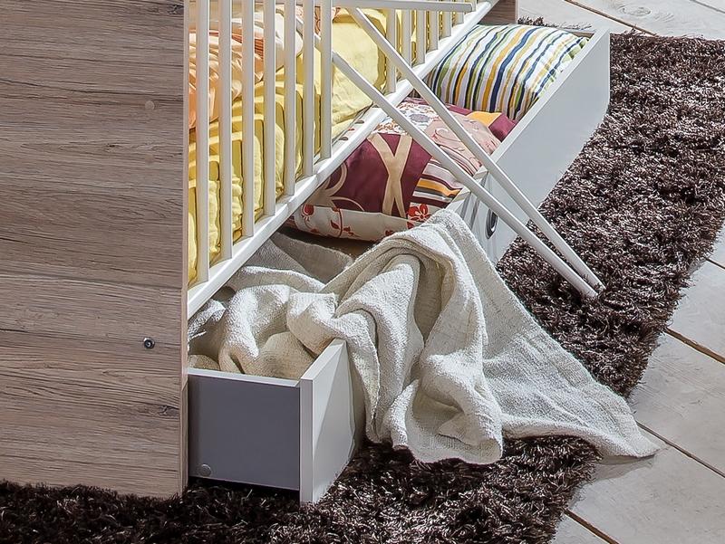 Úložná zásuvka pod postel Cariba, dub san remo/bílá, na kolečkách