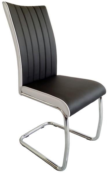 Jídelní židle Vertical, černá/bílá ekokůže