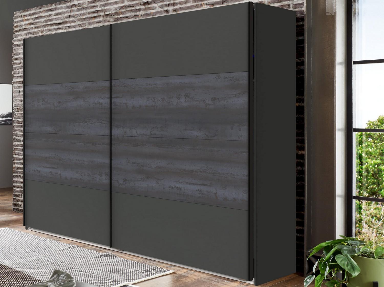 Šatní skříň s posuvnými dveřmi Göteborg, 270 cm, šedá vintage ocel