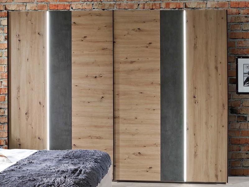 Šatní skříň Fossano, 270 cm, s osvětlením