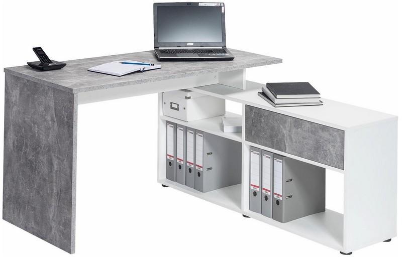 Rohový psací stůl Typ 4019, beton/bílý
